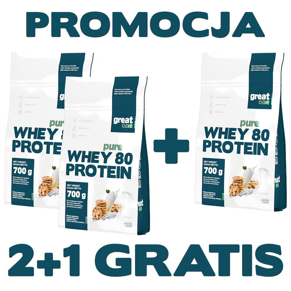 Pure Whey 80 Protein Great One 2+1 GRATIS