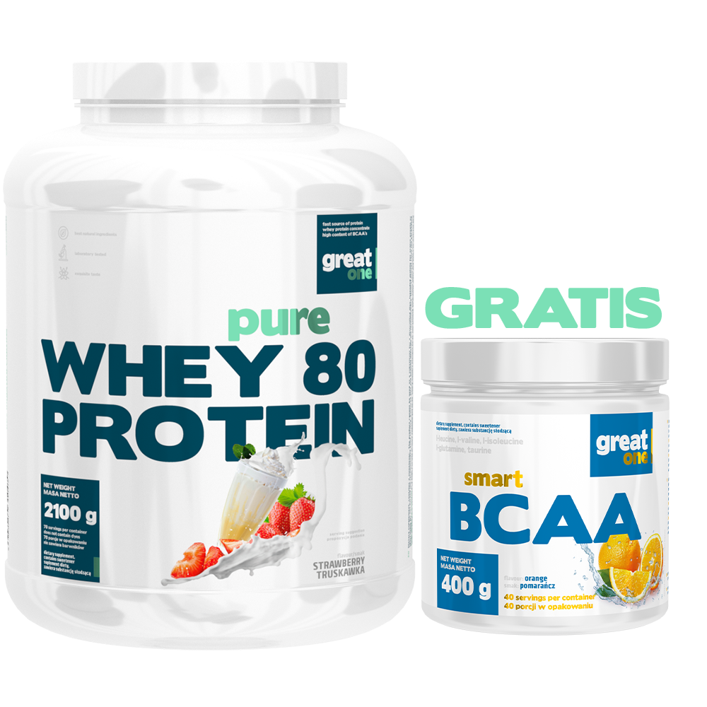 Pure Whey 80 Protein 2,1kg + Smart BCAA 400g GRATIS Great One
