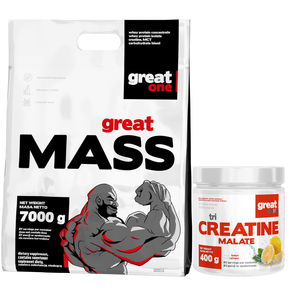Great Mass 7kg + Tri Creatine Malate 400g GRATIS Great One