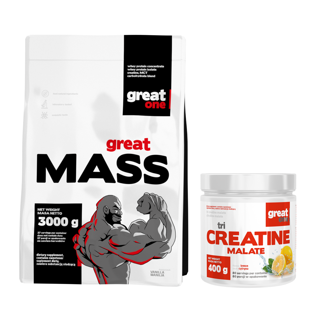 Great Mass 3kg + Tri Creatine Malate 400g GRATIS Great One